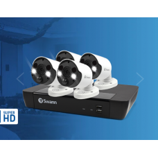 Swann 8 Channel 5MP Super HD NVR-8580 with 2TB HDD & 4 x SWNHD-865MSFB Spotlight Cameras